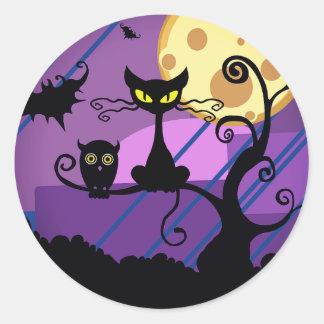 Gullig Halloween svart katt/uggla & spöklik Runt Klistermärke
