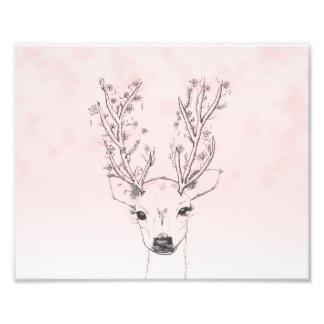Gullig handdrawn blom- vattenfärg för hjorthorn på fototryck