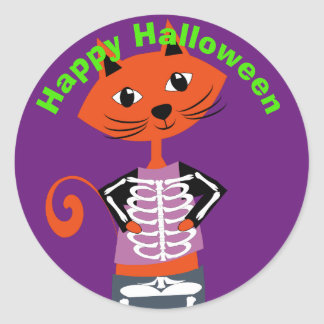 Gullig happy halloweenkatt runt klistermärke