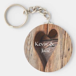Gullig hjärta klippt ut keychain rund nyckelring