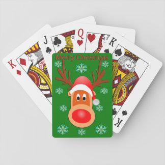 Gullig hjort för god jul som leker kort spel kort