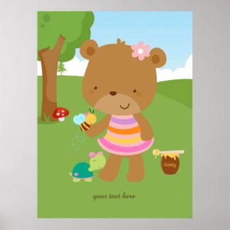 Gullig honungbjörn poster