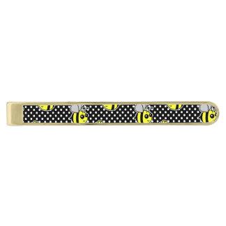 Gullig humlamönstersvart slipsnål med guldfinish