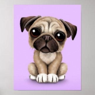 Gullig hund för babymopsvalp på lilor poster