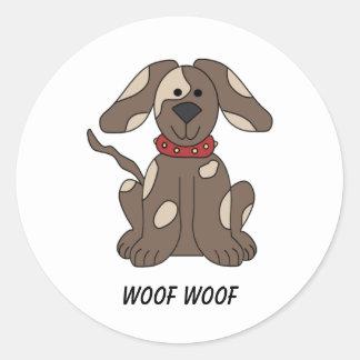 Gullig hund runt klistermärke