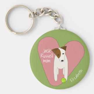 gullig hund som vippar på den head rosa rund nyckelring