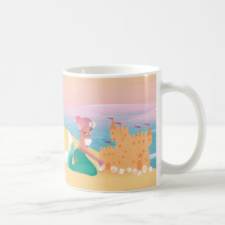 Gullig illustration av sjöjungfru dag på stranden vit mugg