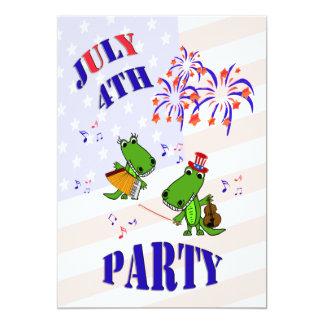 Gullig inbjudan för alligatorJuli 4 party