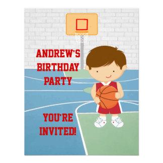 Gullig inbjudan för basketbarns födelsedagparty