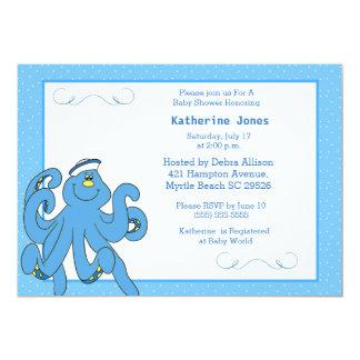 Gullig inbjudan för blåttbläckfiskbaby shower