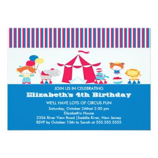 GULLIG inbjudan för cirkusbarns födelsedagparty