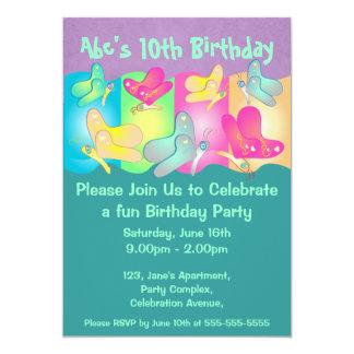 Gullig inbjudan för fjärilsfotofödelsedag