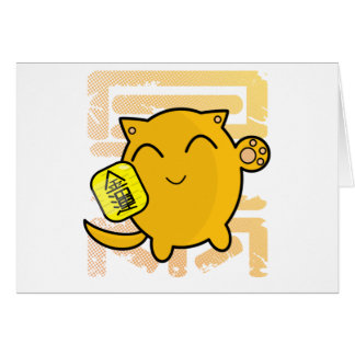 gullig japansk lycklig katt - guld hälsningskort