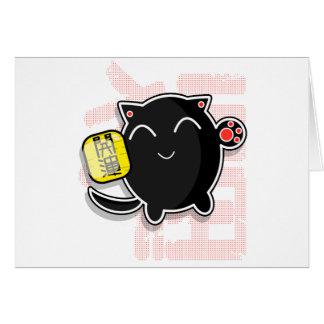 gullig japansk lycklig katt - svart hälsningskort