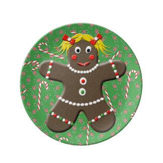 Gullig jul för grönt för kvinna för porslinstallrik