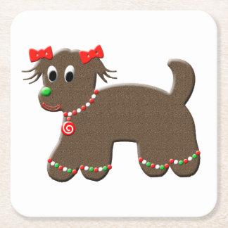 Gullig jul för helgdag för pepparkakavalphund underlägg papper kvadrat