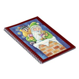 Gullig jul, jultomten i lampglas med leksaker anteckningsbok