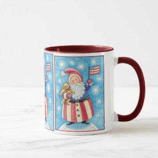 Gullig jul, patriotisk jultomten med flagga mugg