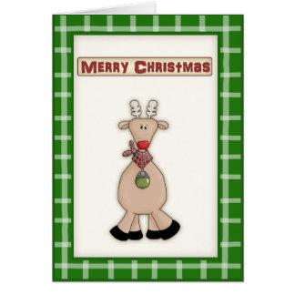 Gullig jul Rudolf det röda näsrenkortet Hälsningskort