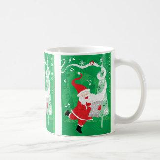 Gullig jul som sjunger och dansar jultomten kaffemugg
