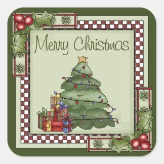 Gullig julgran- och gåvagod jul fyrkantigt klistermärke