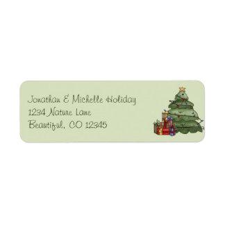 Gullig julgran- och gåvahelgdagadress returadress etikett