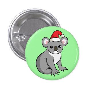 Gullig julKoala i emblem för Santa hattteckning Mini Knapp Rund 3.2 Cm
