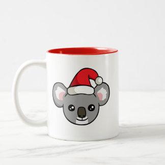 Gullig julKoala i mugg för Santa hattteckning