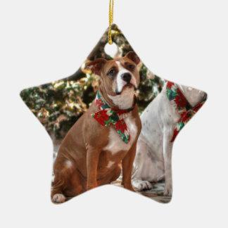 Gullig julrädding Pitbull och Amerika tjurhund Julgransprydnad Keramik