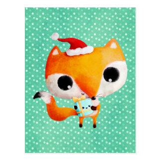 Gullig julräv vykort