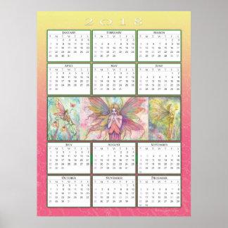 Gullig kalenderaffisch för fe 2018 poster
