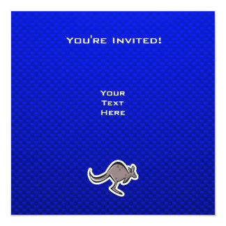 Gullig känguru; Blått Fyrkantigt 13,3 Cm Inbjudningskort