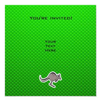 Gullig känguru; Grönt Fyrkantigt 13,3 Cm Inbjudningskort