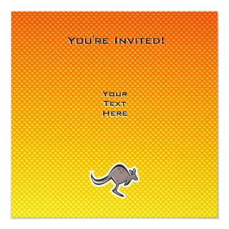 Gullig känguru; Gul orange Fyrkantigt 13,3 Cm Inbjudningskort