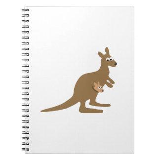 Gullig känguru och känguruunge anteckningsbok med spiral