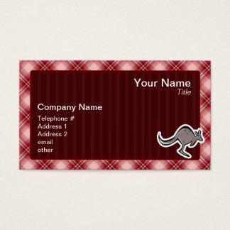 Gullig känguru; Röd pläd Visitkort