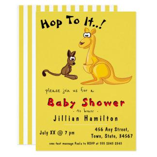 Gullig kängurubaby- och mammababy shower 11,4 x 15,9 cm inbjudningskort