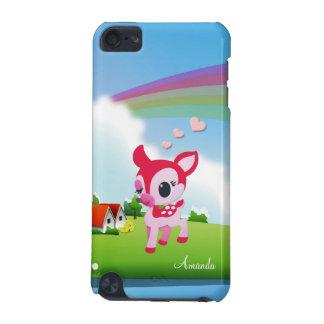 Gullig kärlekhjort Bambi med regnbågelandplats iPod Touch 5G Fodral