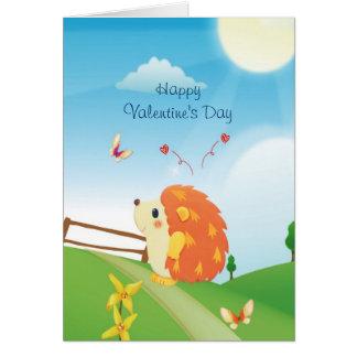 Gullig kärlekigelkott med solig dag för fjäril hälsningskort