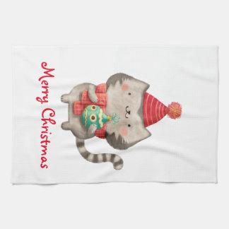 Gullig katt för jul kökshandduk
