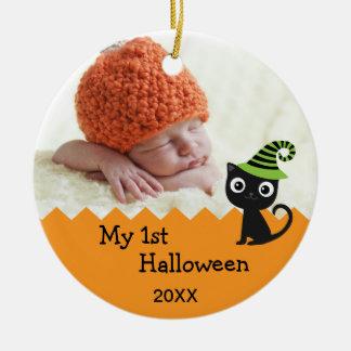 Gullig katt min 1st Halloween prydnad Rund Julgransprydnad I Keramik