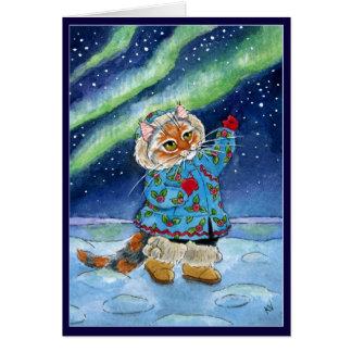 Gullig katt, vinter, nordligt ljus, rolig jul hälsningskort
