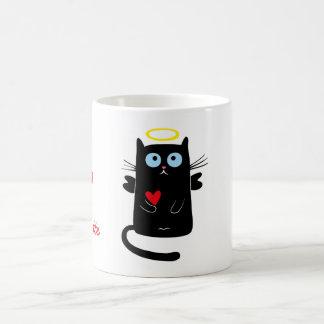 Gullig kattängel med hjärtapersonlignamn vit mugg