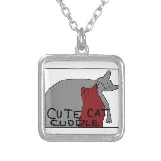 Gullig kattomfamning silverpläterat halsband