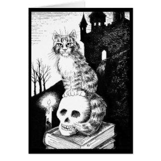 Gullig kattsvartvit Halloween, någon orsakar Hälsningskort