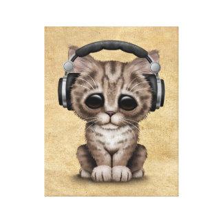 Gullig kattunge Dj som ha på sig hörlurar Canvastryck