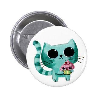 Gullig kattunge med den Kawaii muffinen Standard Knapp Rund 5.7 Cm