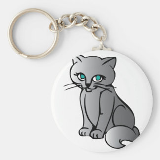 Gullig kattunge rund nyckelring