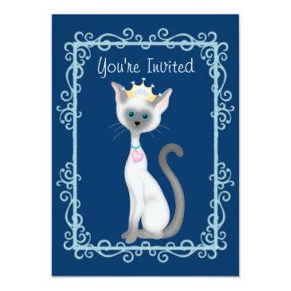 Gullig kattungefödelsedagsfest för Princess 12,7 X 17,8 Cm Inbjudningskort