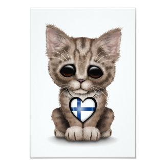 Gullig kattungekatt med finlandssvensk 8,9 x 12,7 cm inbjudningskort